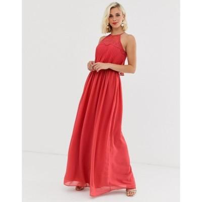チチロンドン レディース ワンピース トップス Chi Chi London halter neck maxi dress in burnt red