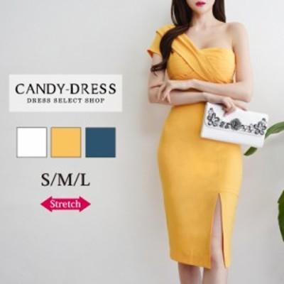 【予約】S/M/L 送料無料 Luxury Dress ストレッチ無地×プリーツワンショルダーデザインスリットタイトミディドレス TR200502 膝丈 ワン