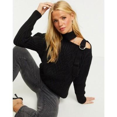 リバーアイランド River Island レディース ニット・セーター トップス Cold Shoulder Cable Knit Jumper In Black ブラック