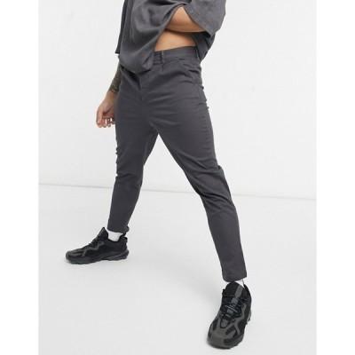 エイソス メンズ カジュアルパンツ ボトムス ASOS DESIGN high waisted cigarette chino pants in charcoal