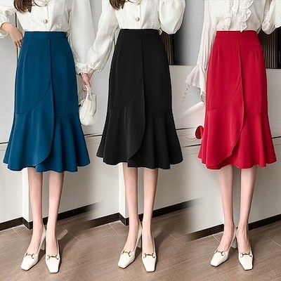 SMFashion高級な質感スカートエレガントミディアムスカートマーメイドスカートハイウエストAラインスカートラッフルヒップスカート