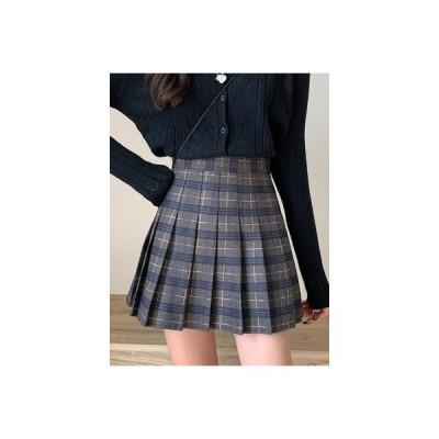 【送料無料】秋冬 韓国風 スカート カレッジ風 プリーツスカート ハイウエスト 着や | 346770_A64056-8989923