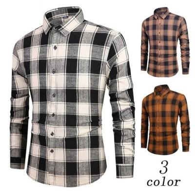 メンズシャツ チェック柄シャツ  ワイシャツ  3カラー  長袖 通勤 仕事 トップス シャツ 大人気  ビジネス mnb645
