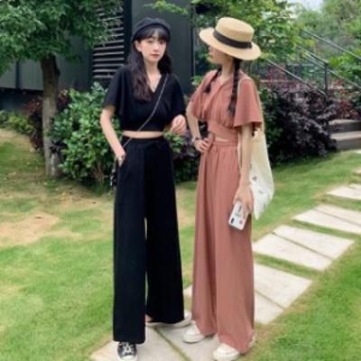 送料無料 2020年新作 セットアップ トップス パンツ リボン デート セクシー 韓国ファッション 大人ファッション おでかけ ショート丈 ゆ