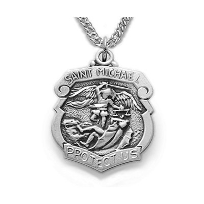 TrueFaithJewelry Sterling Silver Patron of Police Officers Saint Michael Shield Pendant, 3/4 Inch[平行輸入品]