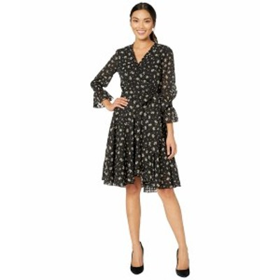 タハリ レディース ワンピース トップス Long Sleeve Printed Swiss Dot Mini Floral Dress Black/Ivory Ditsy Floral
