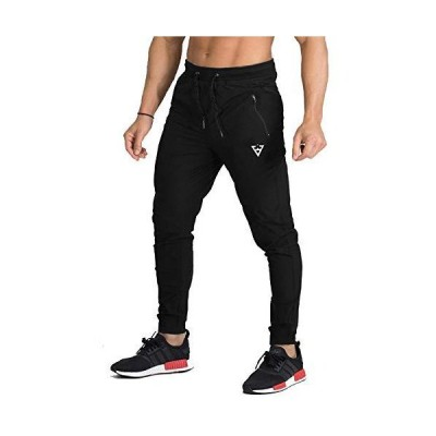 [Manatsulife] トレーニング ジョガーパンツ スポーツ ランニング フィットネス アクティブ アウトドアK-25 (ブラック(無地) M)