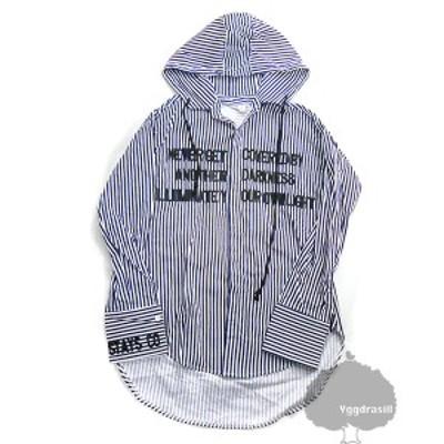 フード付き 長袖 シャツ ストライプ 白ネイビー 英字刺繍入り M BTS ジミン着 jimin 防弾少年団 衣装