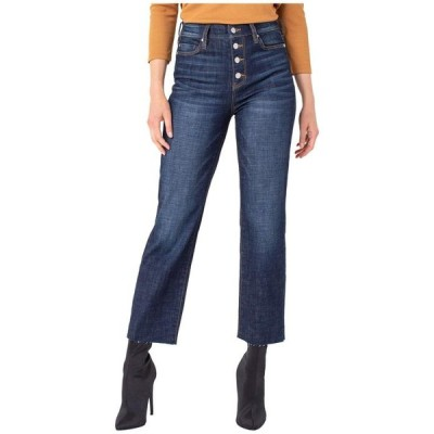 リバプール レディース デニムパンツ ボトムス Button Front Crop Straight Jeans with Cut Hem in Gleason