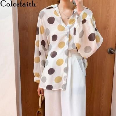 海外輸入アパレル Colorfaith New 2020 Spring Summer Women's Blouse ChiffonDotsシン
