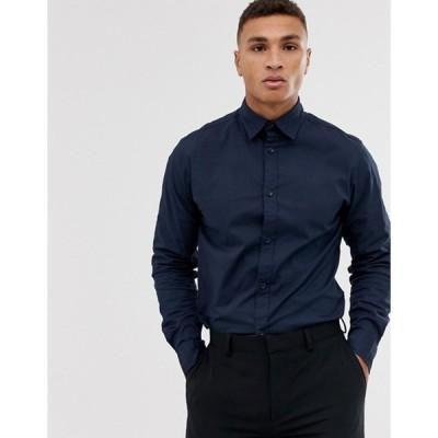 ジャック アンド ジョーンズ メンズ シャツ トップス Jack & Jones regular stretch poplin shirt in navy