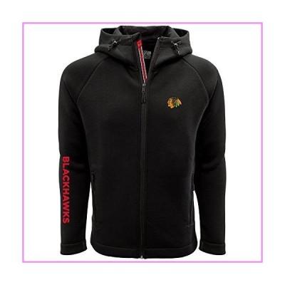 Levelwear LEY9R NHL Chicago Blackhawks Adult Men Titan Banner Stripe Full Zip Hooded Jacket, Medium, Black【並行輸入品】