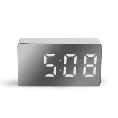 LED ミラーデジタル 時計 目覚まし時計 スヌーズテーブル時計 ウェイクアップミュートカレンダー調光可能な電子デスクトップ時計家の装飾|目覚まし時