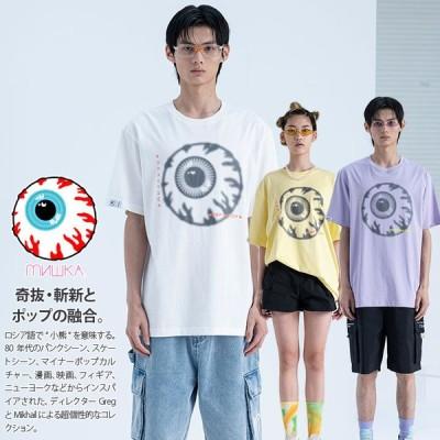 ミシカ MISHKA Tシャツ 半袖 大きいサイズ かっこいい おしゃれ 袖ロゴ KEEPWATCH キープウォッチ 目玉 ビッグシルエット ハイモード 2021年 春新作