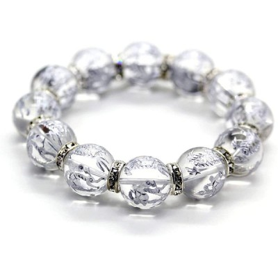 石輝 銀彫四神獣水晶16mm シルバーロンデル ブレスレット メンズ 天然石 数珠 パワーストーン [b536]