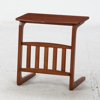 不二貿易 96553 サイドテーブル ノルン マガジンラック付き ミディアムブラウン