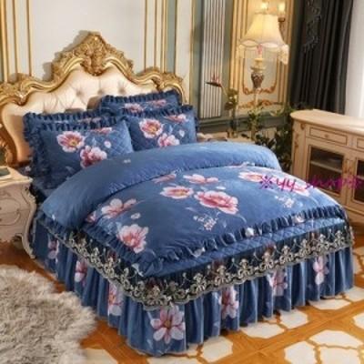 1120BS14-4新品 高級ワイドダブル ベッド用品4点セット 寝具 ボックスシーツ 枕カバー掛け布団カバー ベッドカバー