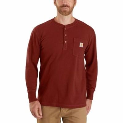 カーハート Carhartt メンズ 長袖Tシャツ ヘンリーシャツ トップス Relax Fit Heavyweight Henley Pocket Thermal T - Shirt Iron Ore