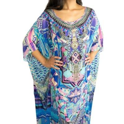 ワンピース カミーラ CAMILLA SWAROVSKI Embellished Silk THREADS OF COSMOS Caftan Maxi Dress OS