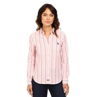 ユーエスポロアッスン U.S. POLO ASSN. レディース ブラウス・シャツ トップス Casual Striped Blouse Prism Pink
