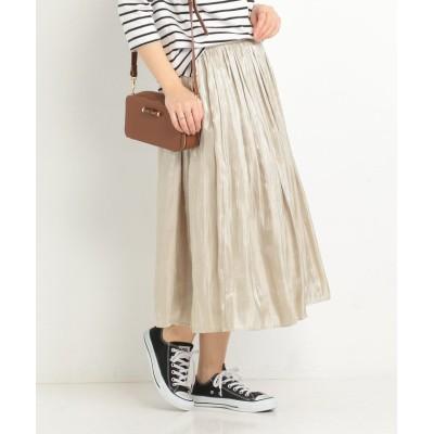 【ドゥ アルシーヴ】 プラチナ割繊サテンギャザースカート レディース ベージュ M DOUX ARCHIVES