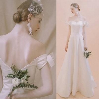 オフショルダー ウエディングドレス 二次会 Aライン ブライズメイド服 花嫁 結婚式 披露宴フォマールドレスお姫様 着痩せ 20代30代40代 ブライダル高級 白い