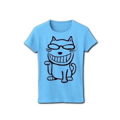 ちょい悪メガネ招き猫 リブクルーネックTシャツ(ライトブルー)