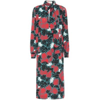 マルニ Marni レディース ワンピース ミドル丈 ワンピース・ドレス Floral stretch-crepe midi dress Gazebo