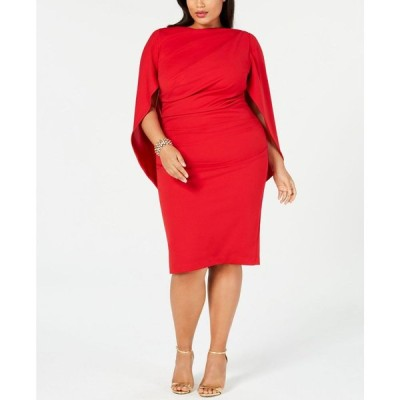 ベッツィアンドアダム Betsy & Adam レディース ワンピース ワンピース・ドレス Plus Size Ruched Cape Dress Dark Red