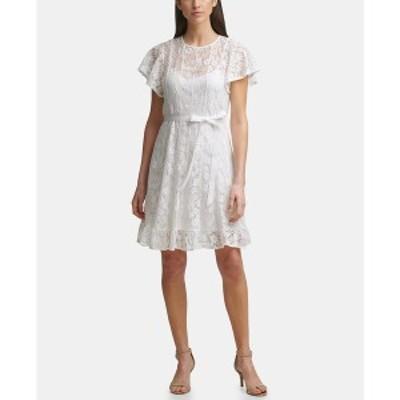 ジェシカハワード レディース ワンピース トップス Petite Lace Fit & Flare Dress Ivory