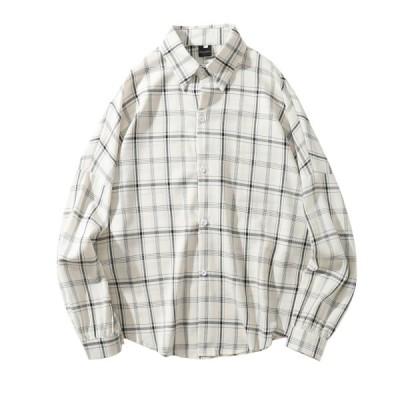 メンズ アロハシャツ 長袖 カジュアル チェック柄 大きいサイズ 春 夏 秋 ゆったり オシャレ 前開き 派手 シャツ ワイド リゾート