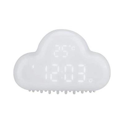 目覚まし時計 スヌーズ機能 置き時計 デジタルアラーム LED 温度表示 カレンダー 音声感知 USB/乾電池給電 雲型