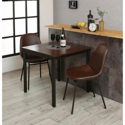 ダイニングテーブルセット 3点 セット (テーブル 幅75cm+チェア2脚) 天然木パイン無垢材ヴィンテージデザインダイニング 角型 木製