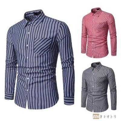 カジュアルシャツ メンズ ストライプシャツ シャツ 開襟シャツ 長袖シャツ メンズシャツ 2020 春物 春服