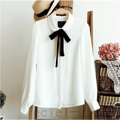 シャツ ブラウス 丸襟 シフォン トップス 長袖 ボウタイシャツ 白シャツ オフホワイト?レディース