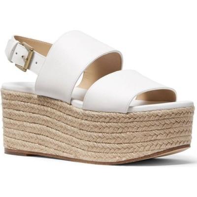 マイケル コース Michael Kors レディース エスパドリーユ ウェッジソール シューズ・靴 Trish Espadrille Platform Wedge Sandals Optic White
