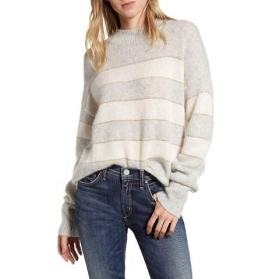 レイルズ レディース ニット&セーター アウター Ellise Metallic Detail Stripe Cashmere & Silk Mock Neck Sweater MIST IVORY STRIPE