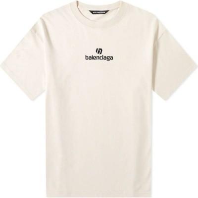 バレンシアガ Balenciaga メンズ Tシャツ ロゴTシャツ トップス New Logo Tee Chalky White/Black
