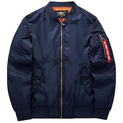 ラクエスト中綿入り フライトジャケット ma-1ジャケット(ネイビー, XL)