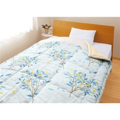 メキシコ綿入り 肌掛け布団 〔ひより ブルー1枚〕 シングル 日本製 綿100% 〔ベッドルーム 寝室〕 〔送料無料〕