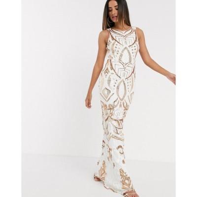 ゴディバ ミディドレス レディース Goddiva seqiun embrioded maxi dress in white and gold エイソス ASOS ホワイト 白