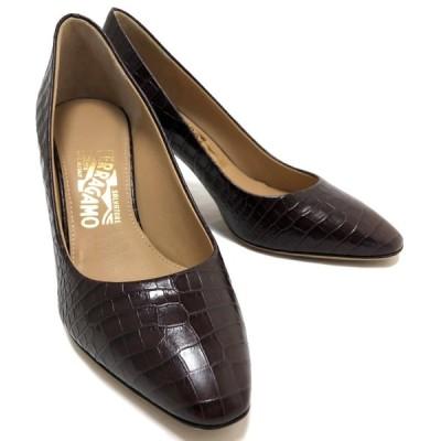 未使用 フェラガモ 靴 パンプス クロコ型押し レザー ブラウン 7 24.5cm レディース 焦げ茶 女性用 茶色 型押しレザー 靴 FERRAGAMO