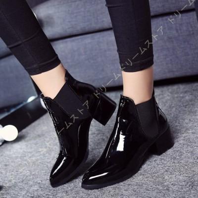 ショートブーツ レディース 歩きやすい 疲れない ブーツ サイドゴア ブーツ エナメル ローヒール サイドゴアブーツ 幅広 甲高 靴 ぺたんこ ショート ブーツ