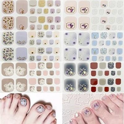 【送料無料】ネイルシール 足の爪 ネイルステッカー 3Dネイルシール 足用 6枚 貼るだけ 人気 可愛い おしゃれ ファイル付き ジェルネイル