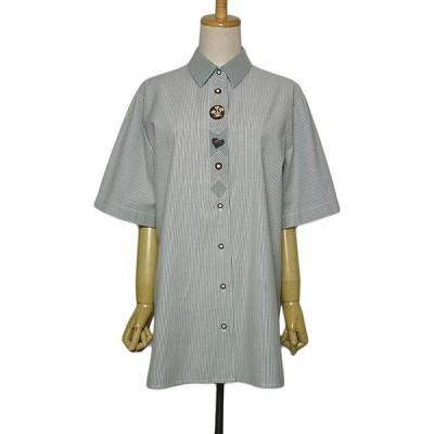 noblesse ストライプ柄 半袖 カントリー シャツ チロルシャツ レディース XLサイズ位 ヨーロッパ 民族衣装 トップス 古着