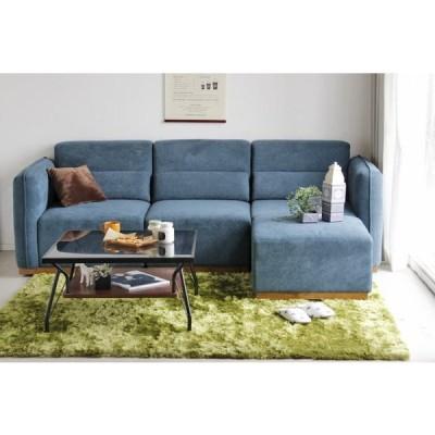 送料無料 ソファー4点セット ファブリック 布張り 組み合わせ自由 ブルー