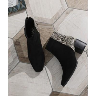 VIVIAN COLLECTION / スクエアトゥバックファスナー切り替えデザインショートブーツ WOMEN シューズ > ブーツ