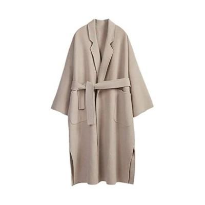 チェスターコート ジャケット アウター コート レディース ロングコート ベルト付きガウンコート トレンチコート オーバーサイズ(ベージュ S)