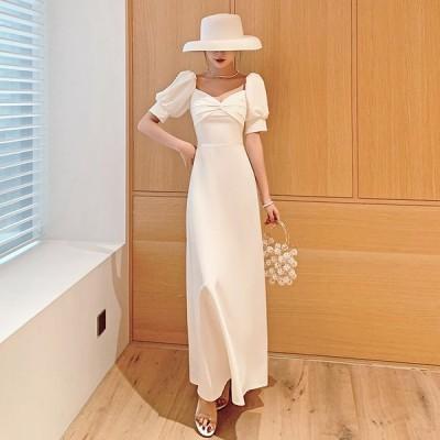 2021夏新品ウェディングドレス白 パーティードレス ウエディングドレス エレガント 簡約 ウエディング 花嫁ロングドレス 結婚式 二次会 挙式hs5804