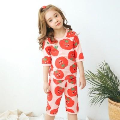 PUCO トマトプリント七分袖パジャマセットアップ-ピンク-130cm